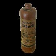 Antique German Stoneware Geneva Bottle With Original Labels