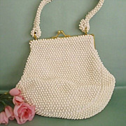 1950's White Corde Bead Slump Purse by Lumured
