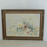 Watercolor Features Cabbage Roses Bouquet - Artist Signed