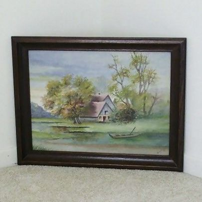 Cabin by the Lake  Watercolor Signed Anna Jung 1938