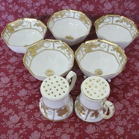 Early Nippon Heavy Gold Moriage Nut Bowls and Shakers