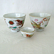 Chinese Red Dragon Sake Cups and Salt Bowl