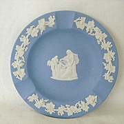 Wedgewood Jasperware Ashtray Blue With White Grapevine Border