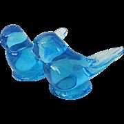 Pair Happy Little Bluebirds By Titan Art Glass