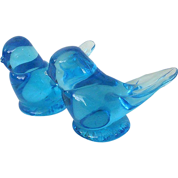 Pair Happy Little Bluebirds By Titan Art Glass
