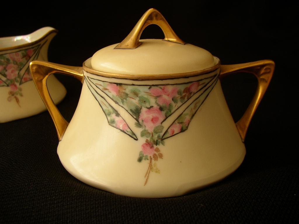 German Porcelain Sugar & Creamer Signed Z.S. & Co.