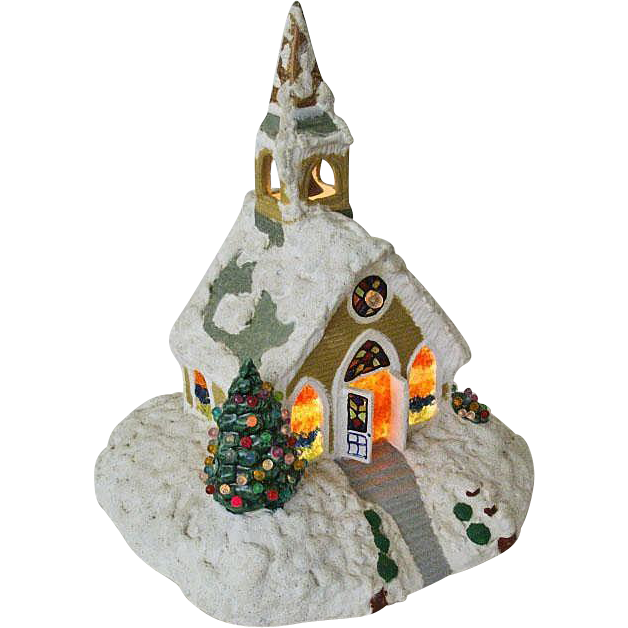 Hand Crafted 1970's Ceramic Church Spreads Holiday Cheer