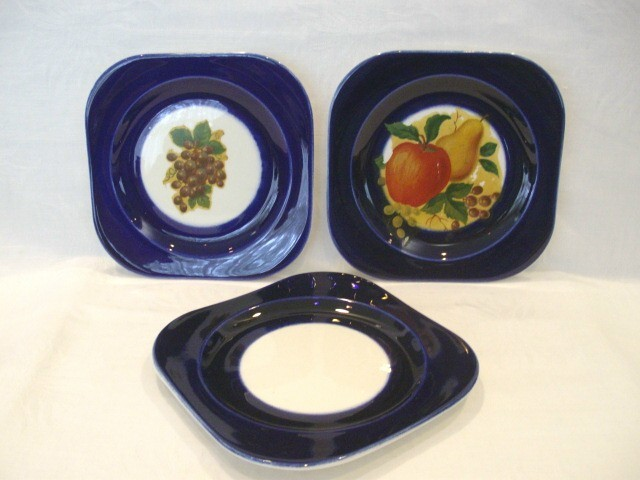 Flow Blue 1940's Square Plates With Vintage Decals