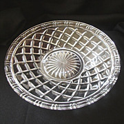 Large Pressed Glass Serving Plate With Basket Design