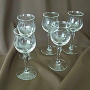 Set Of Five Dainty Cordial Glasses