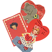 Valentine Card Trio Cut-Outs - 1947