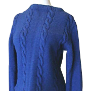 Hand-Made Royal Blue Cable Stitch Sweater 1960's