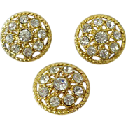 Gold-Tone Buttons Studded With Rhinestones