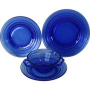 Hazel Atlas Cobalt Blue Moderntone Plates & Cream Soup