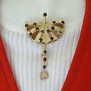 Classic 1940's Umbrella Lapel Pin With Colored Rhinestones