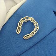 Faux Pearls Woven Through Gold-tone Horseshoe Pin