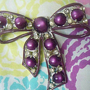 Large Enameled Ribbon Bow Brooch - 1930's