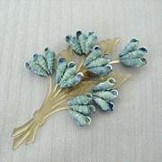 Unique Tiny Blue Shells In A Bouquet Pin