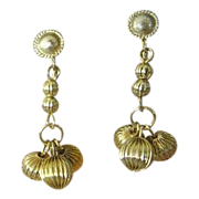 Gold-Tone Dangle Dimestore Earrings - 1950's