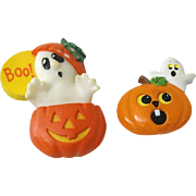 Pair Pumpkin & Ghost Halloween Pins