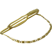 Early Gold-Tone Tie Clip With Chain