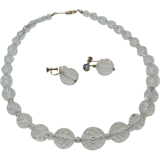 Rock Crystal Graduated Bead Necklace and Earrings Classic 1930s