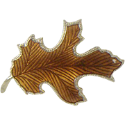 Enameled Autumn Leaf Pin