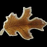 Enameled Autumn Leaf Pin