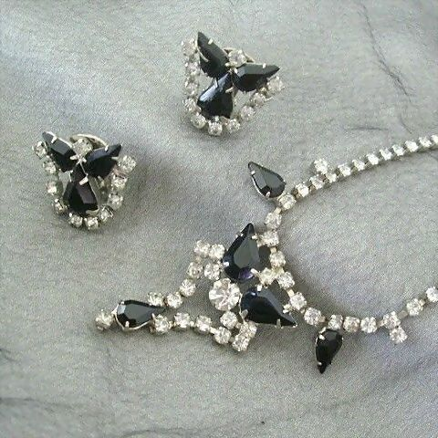 Classic Set Sparkles With Rhinestones And Black Jet