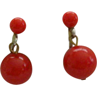 Bright Red Dangle Earrings - 1950's