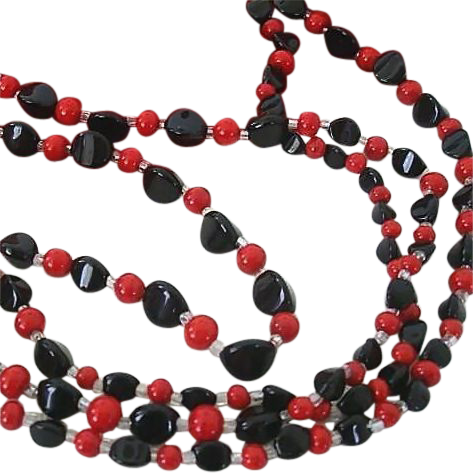 Super Long Red & Black Beaded Necklace