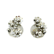 Coro Silver-Tone Floral Earrings 1960s