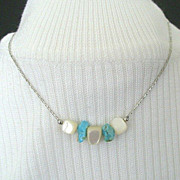 Necklace Features Turquoise & Mother of Pearl Nuggets