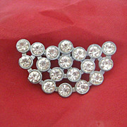 Half Moon Pot Metal Brooch Brilliant With Rhinestones