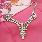 Rhinestone Swag Necklace - 1950's