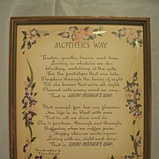 Vintage Mother Motto Buzza Print  Mother's Way Author  Edgar A. Guest Circa 1939