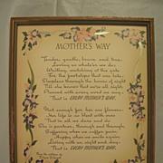 Vintage Mother Motto Buzza Print  Mother's Way Author  Edgar A. Guest Circa 1939