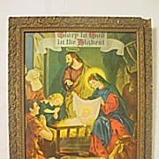 Antique Victorian Print  Nativity Scene Glory to God in the Highest