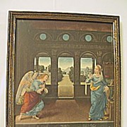 The Annunciation Print of Mary and  Archangel Gabriel with  3 Scenes of Adam and  Eve