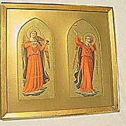 Lg. 2-Picture  Print of Archangel Gabriel w Trumpet  and  Violin  Angel of the Tabernacle Artist  Fra Angelico