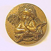 Antique Bronze Cupid Pin / Brooch