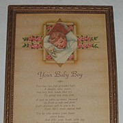 Vintage Motto Your Baby Boy  Charming Motto Print Circa 1920's