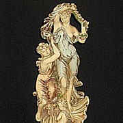 Vintage Shapely Art Nouveau Statue  2 Ladies  and  Child  with Shell Pedestal Base