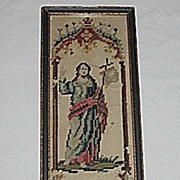 Small  Religious Punch Paper Sampler Needlepoint Picture of Jesus Circa 1920's