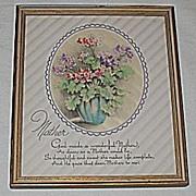 Vintage Floral Mother Motto Print Circa 1920's
