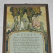 Vintage Special Mother Motto  Buckbee Brehm Mother Motto Print Circa 1920's