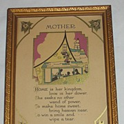 Vintage Mother Motto Print with Silhouette  Circa 1920's