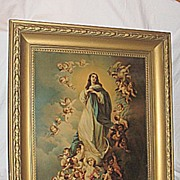 The Immaculate Conception Virgin Mary  with  Angels  X-Lg  Antique Victorian Lithograph  Print  Artist Murillo