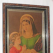 Saint Anne Teaching Young Mary the Bible  Antique Victorian Lithograph Print  Eastlake Frame