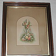 X-Lg  Antique Victorian Religious Print of a Floral Decorated Cross in Deep Walnut Frame